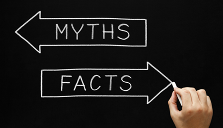 healthinsurance.com telemedicine quotes, ten telemedicine myths debunked, two arrows pointing in different directions with the words myths and facts