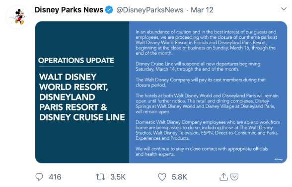 operations update from Disney
