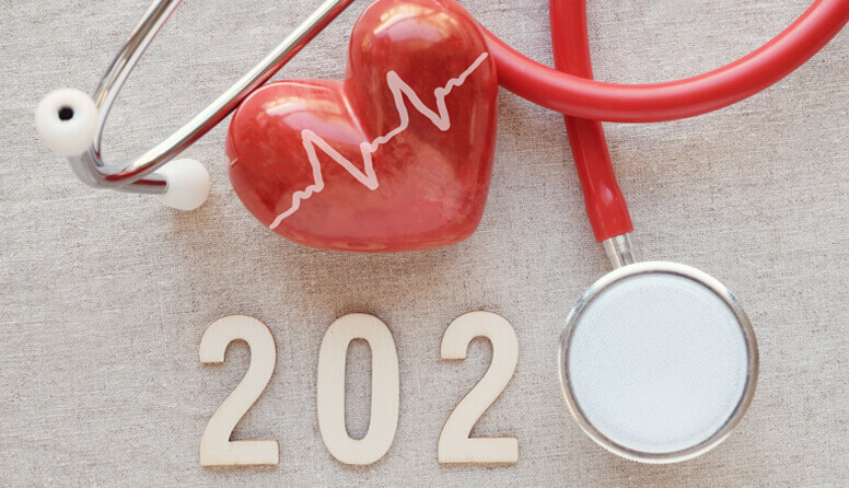red heart and stethoscope earpiece arranged to look like the year 2020